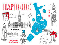 """Hamburg †""""stadens gränsmärken vektor illustrationer"""