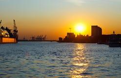 Hamburg. Sunset in port of Hamburg, Germany Stock Photos