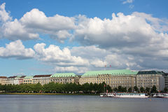 Hamburg. The Binnenalster lake in Hamburg city, Germany royalty free stock photography