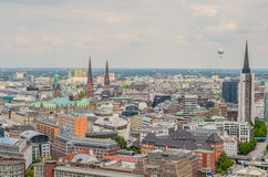 Hamburg, aerial view. City center of Hamburg viewed from the top of a famous church Stock Photos