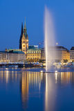 Hamburg Alster Fountain At Night Stock Photos