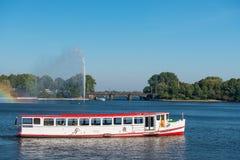 Hamburg Alster lake ship Royalty Free Stock Photos