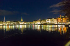 Hamburg Alster Night Royalty Free Stock Images