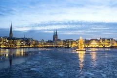 Hamburg Alster sjö på jul Royaltyfria Foton