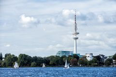 Hamburg Alster With TV Tower On The Horizon And Sailing Ships On The Water stock image