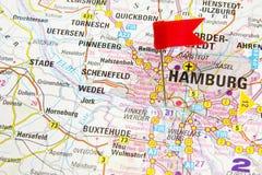 Hamburg auf der Karte von Deutschland Stockbild