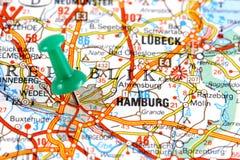 Hamburg auf Karte stockfoto