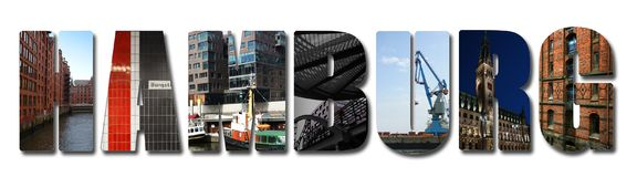Hamburg banner collage Royalty Free Stock Images