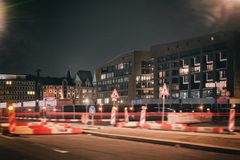 Hamburg Baustelle Neustadt Hafencity strasse absperrung time exposure royalty free stock photo