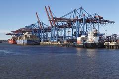 Hamburg - behållareskyttlar på terminalen Royaltyfri Fotografi