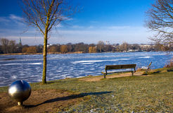 Hamburg benches by the lake. Germany Stock Photography
