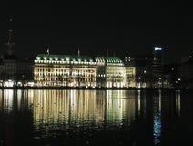 Hamburg bij nacht Stock Fotografie
