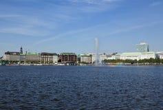 Hamburg, Binnenalster Lake with fountain Royalty Free Stock Photography