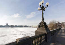 Hamburg, Binnenalster Lake In Winter Royalty Free Stock Photo