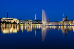Hamburg Binnenalster At Night Stock Image