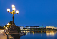 Hamburg Binnenalster At Night Royalty Free Stock Photo