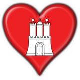 Hamburg button flag heart shape Royalty Free Stock Photography