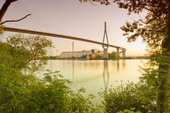 Hamburg, cable-stayed bridge crossing the harbour entra Stock Images