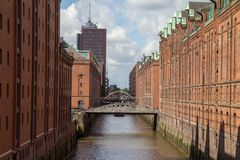 Hamburg canal with a bridge royalty free stock photography
