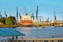 Hamburg cargo port. From across the river Royalty Free Stock Photo