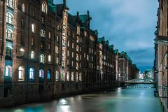Hamburg Channel at Night Royalty Free Stock Photography