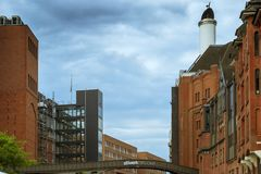 Stilwerk bridge between buildings in Hamburg. Hamburg is the city of bridges and canals. The bridge between the administrative buildings in the district Royalty Free Stock Images
