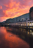 Hamburg city center at beautiful sunset Royalty Free Stock Image