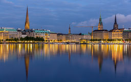Hamburg city center over the lake Royalty Free Stock Photography