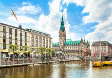 Hamburg city center with town hall and Alster river Stock Image