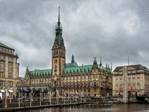 Hamburg city center with town hall and Alster river in Germany Stock Photography