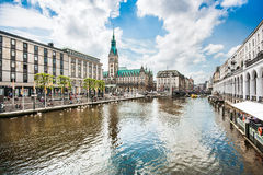 Hamburg city center with town hall and Alster river, Germany Stock Photography