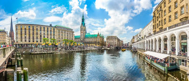 Hamburg city center with town hall and Alster river, Germany Royalty Free Stock Photo