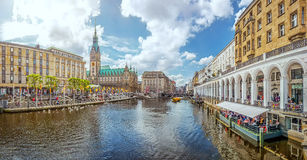 Hamburg city center with town hall and Alster river, Germany royalty free stock photos