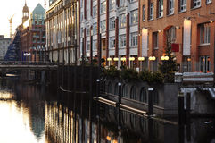 Hamburg city centre canal Bleichenfleet, Germany Stock Photos
