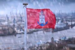 An hamburg city flag germany rain composing Stock Photo