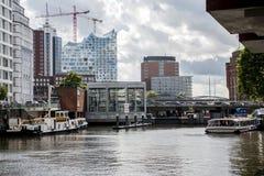 Hamburg City Germany Boats Harbor front of elb Philharmony 6 Royalty Free Stock Photos