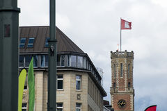 Hamburg City Germany Region Flag old historic Tower Stock Image