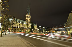 Hamburg city hall at night Stock Photo