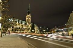 Hamburg city hall at night Stock Photo