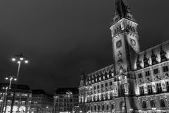 Hamburg City Hall at night Royalty Free Stock Photo
