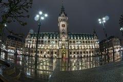 Hamburg city hall at night Stock Photos