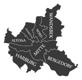 Hamburg City Map Germany DE labelled black illustration. Hamburg City Map Germany DE labelled black Stock Image