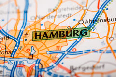 Hamburg City on a Road Map Royalty Free Stock Photography