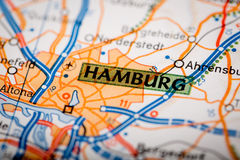 Hamburg City on a Road Map Royalty Free Stock Photos