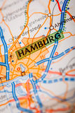 Hamburg City on a Road Map Royalty Free Stock Image