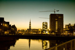 Hamburg city silhouettes at night Royalty Free Stock Images