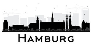 Hamburg City skyline black and white silhouette. Stock Image