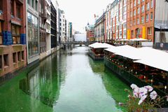 Hamburg cityscape and city canals with attractions.  Stock Image