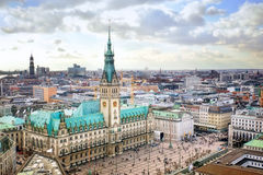 Hamburg cityscape. Hamburg city hall, Germany, view from above royalty free stock photos