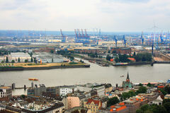 Hamburg cityscape with port and hard industry. Part Stock Photo
